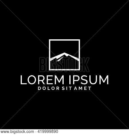 Mountain Logo Template With Square Window Simplicity Illustration In Flat Design Monogram Symbol