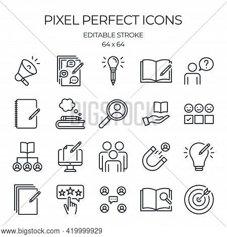 Brand Storytelling And Inbound Marketing Concept Editable Stroke Outline Icons Set Isolated On White