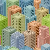 Illustrations of a seamless squared big city background with several various cartoon isometric buildings poster