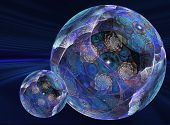 conceptual three-dimensional abstract graphic background illustration in the shape of a ball or orb poster