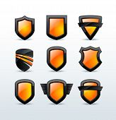 Set of black shiny shield icons vector illustration isolated on background poster