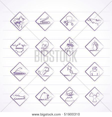 Warning Signs for dangers in sea, ocean, beach and rivers - vector icon set poster