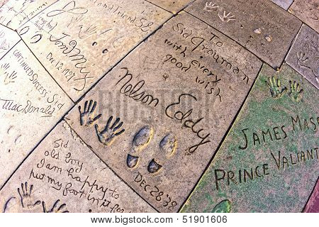 Eddy Nelsons Handprints In Hollywood Boulevard