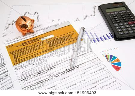 Polish Income Tax Pit-37 Form With Calculator And Piggybank