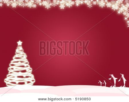 Snowflake X-mas Tree Background Frame