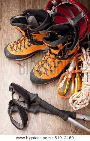 Hiking boots with trekking poles