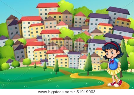 Illustration of a young girl walking at the hilltop across the tall buildings