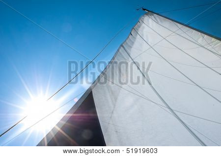 Main Sail Streched In Wind, With Bright Sun In Background
