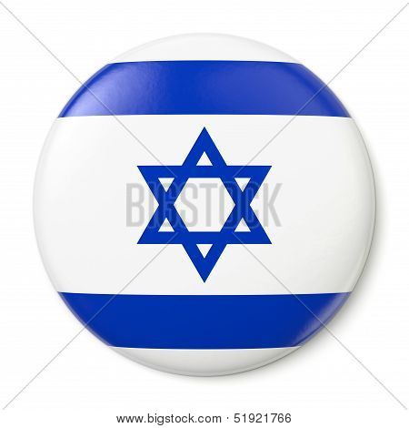 A pin button with the flag of the State of Israel. Isolated on white background with clipping path. poster