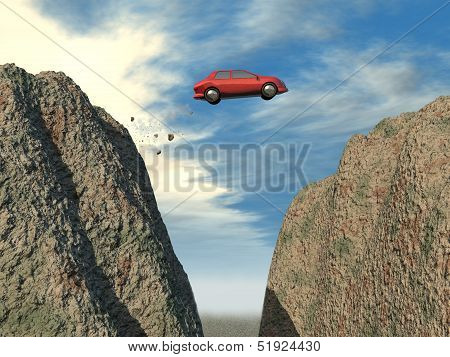 Car jumping over a cliff