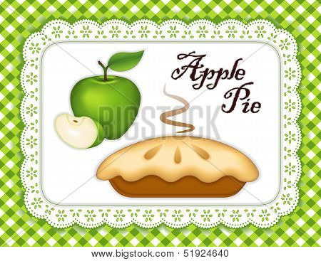Apple Pie, Lace Doily Place Mat, Green Check Background