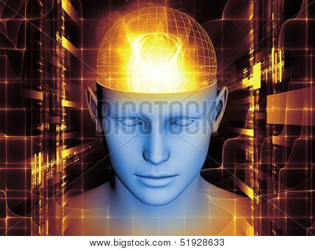 Backdrop design of human head and symbolic elements to provide supporting composition for works on human mind consciousness imagination science and creativity poster