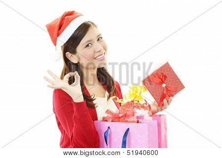 Joyful woman with present