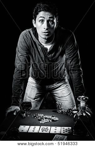 Young Gambler Indoors, Black And White Photo