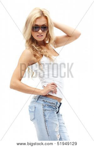 Sexy woman in sunglasses posing on white background