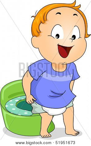 Illustration of a Young Boy Peeing on a Potty