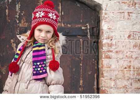 Little Girl Wearing Colorful Winter Outwear