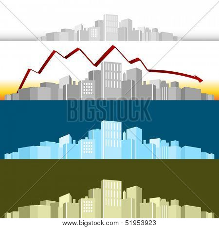 An image of a 3d cityscape with a profit arrow.