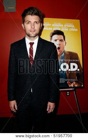 NEW YORK-OCT 3: Actor Adam Scott attends the premiere of 'A.C.O.D.' at the Landmark Sunshine Theater on October 3, 2013 in New York City.