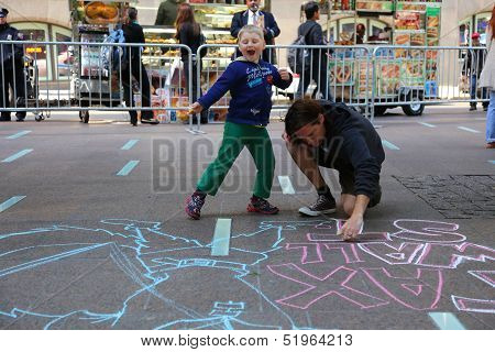 Kids supervise art at Zuccotti Park