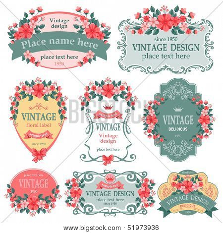 Vector set. Vintage labels with flowers.