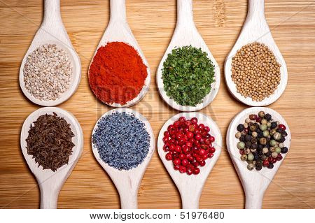 Collection Set Of Spices With Beans, Legumes, Peas, Chopped Pars