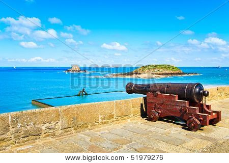 Old Cannon Along Saint Malo Wall Ramparts And Fort. Brittany, F