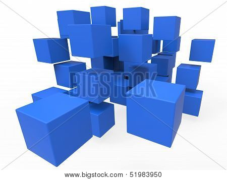 Exploded Blocks Showing Unorganized Puzzle