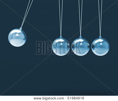 Four Silver Newtons Cradle Shows Blank Spheres Copyspace For 4 Letter Word