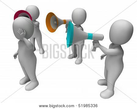 Loud Hailer Character Shows Megaphone Shouting Yelling And Bullying