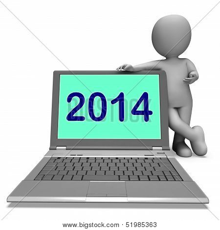 Two Thousand And Fourteen Character And Laptop Shows Year 2014