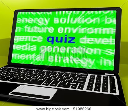 Quiz Laptop Means Tests Quizzing Or Answers Online.