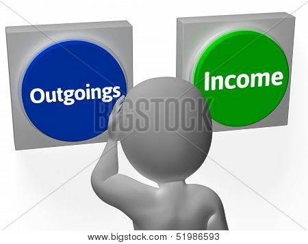 Outgoings Income Buttons Showing Budgeting Or Bookkeeping poster
