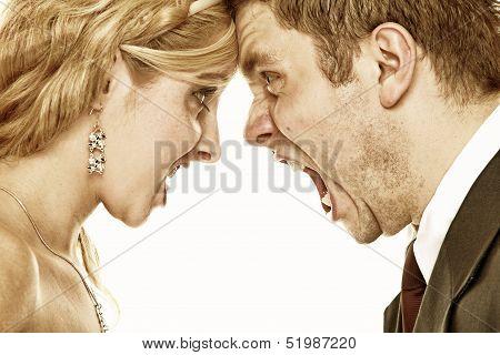 Wedding Fury Couple Yelling, Relationship Difficulties