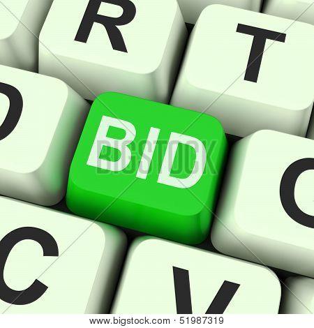 Bid Key Shows Online Auction Or Bidding