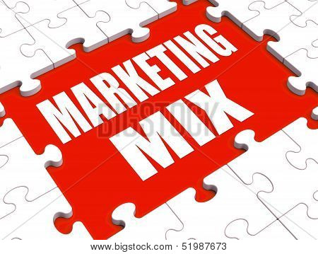 Marketing Mix Puzzle Shows Marketplace Place Price Product And Promotions
