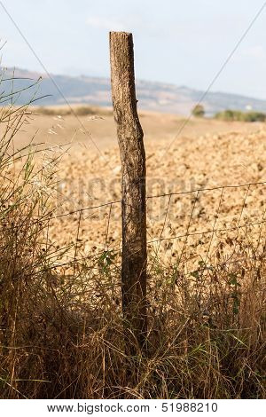 A Fence Post And An Italian Farm Field