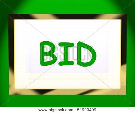 Bid On Screen Shows Bidding Bidder Or Auction