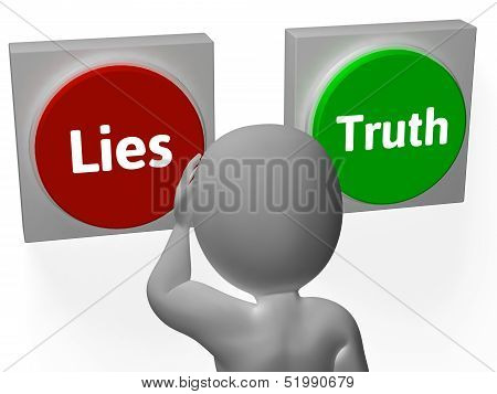 Lies Truth Buttons Show Untrue Or Correct