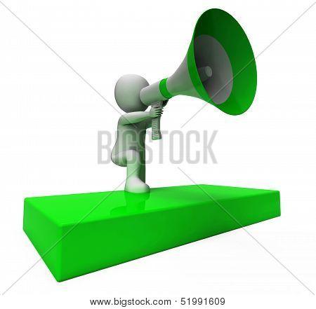 Loud Hailer Character Shows Announcements Explain And Megaphone