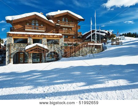 Mountain ski resort with snow in winter, Courchevel, Alps, France
