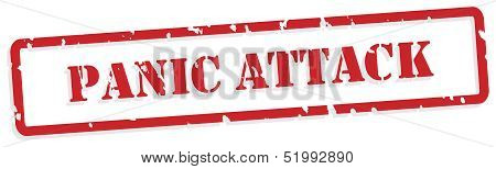 poster of Panic attack red rubber stamp vector for mental health concept