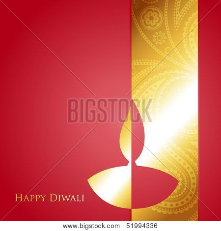 vector golden diwali diya with space for your text