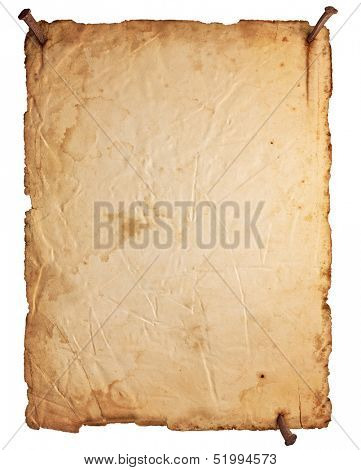 Empty old paper with rusty nails isolated on white background
