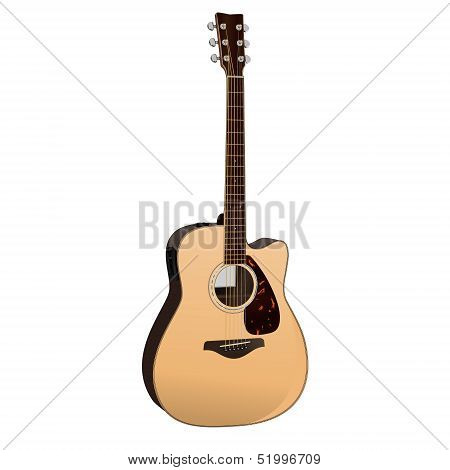 A realistic vector illustration of a Semi-Acoustic Guitar