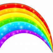 Vector plastic bright shining rainbow with magic lights poster