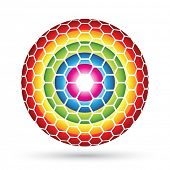 Hexagon Sphere, colorful hexagons forming an abstract ball poster