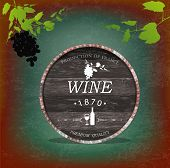 Wooden casks with grapes wine. Vector sticker poster