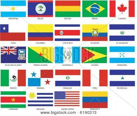 24 Americas Flags