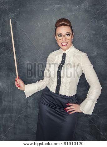 Crazy Teacher With Wooden Pointer